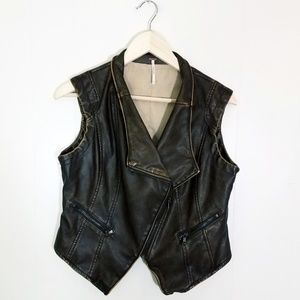 Free People Motobiato Faux Leather Edgy Vest